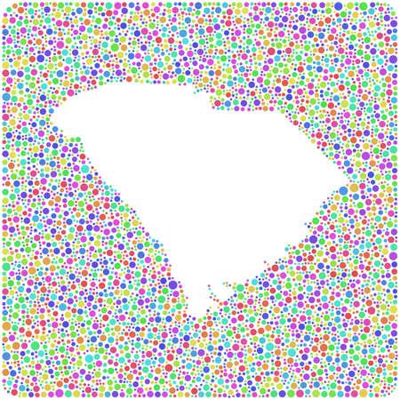 Map of South Carolina - USA - into a square icon. Mosaic of harlequin circles Ilustrace