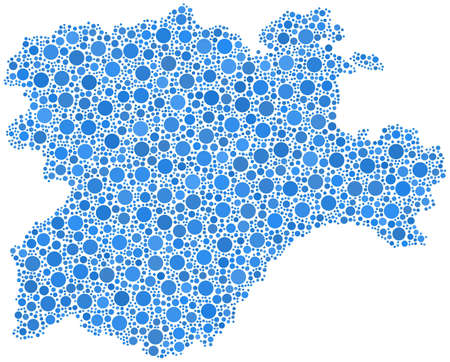 Region of Castile and Leon - Spain - in a mosaic of blue bubbles