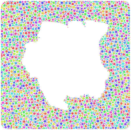 Map of Suriname - Latin America - in a mosaic of harlequin bubbles   White background