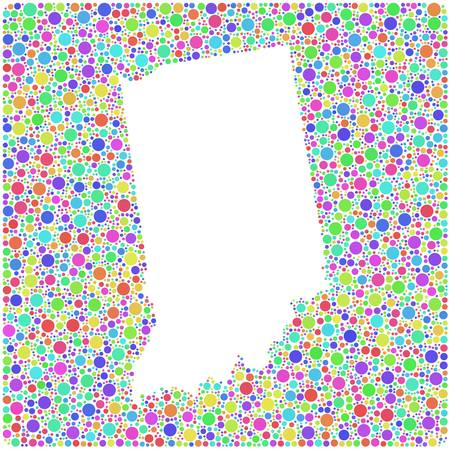 Map of Indiana - USA - in a mosaic of harlequin circles