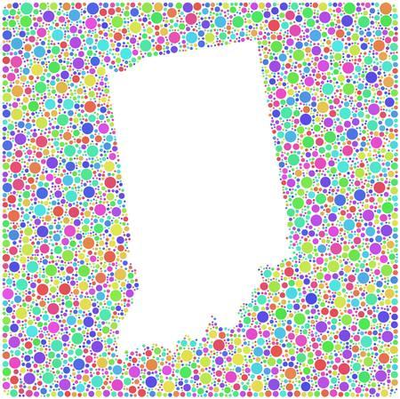 arlecchino: Mappa di Indiana - USA - in un mosaico di ambienti arlecchino