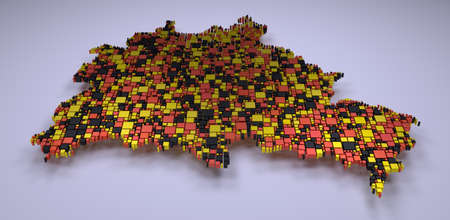 Map of the Berlin State - Germany | Mosaic of 3d little boxes