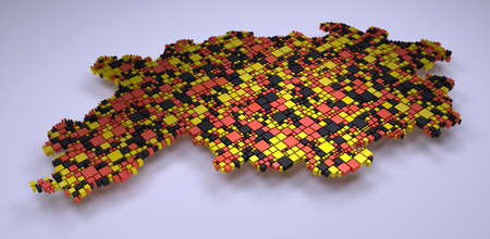 Map of Hesse - Germany - a 3d mosaic of small boxes Stock Photo