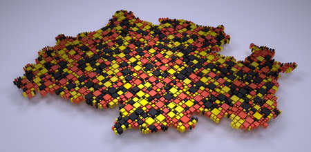 Map of North Rhine Westphalia - 3d mosaic of small boxes Stock Photo