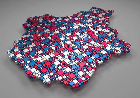 Decorative map of the Centre region of France | 3d mosaic of little boxes Stock Photo