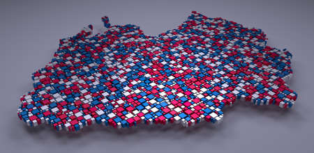 3D Map of Poitou-Charentes - France | Mosaic of little boxes