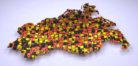 Decorative map of Mecklenburg - Germany | 3D mosaic of little bricks