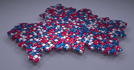 Map of Rhone-Alpes - France | 3d mosaic of little bricks Stock Photo