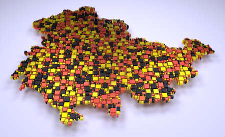 Map of Thuringia - Germany | 3D mosaic of little bricks Stock Photo