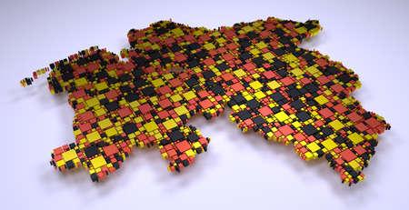 Map of Lower Saxony - Germany | Mosaic of small bricks