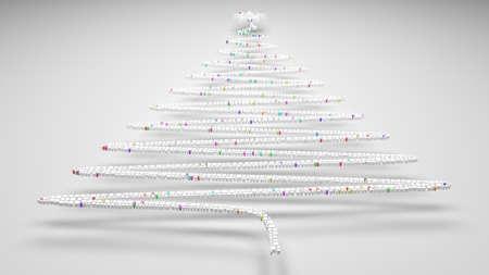 Decorative Christmas Tree. | 3D mosaic of small bricks Stock Photo