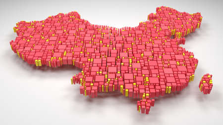 Decorative map of China - Asia | 3D rain of little bricks - Flag colors Reklamní fotografie - 89968957
