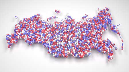 Map of Russian Federation - Eurasia 3d mosaic of little bricks - Flag colors Reklamní fotografie - 90415344