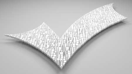 Positive checkmark sign | 3D mosaic of little bricks Stock Photo