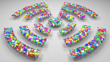 Wireless Communication Sign. | 3d mosaic of little bricks - Harlequin colors Stock Photo
