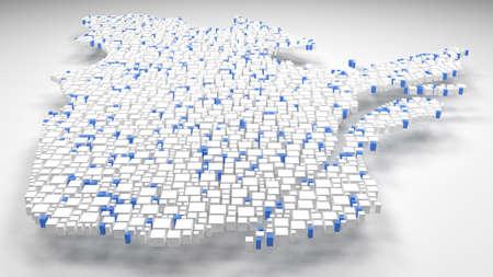 スコットランド 地図 - イギリス |3Dイラスト:小さなレンガのモザイク - フラグの色