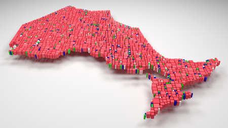 Decorative Map of Ontario - Canada | 3D illustration rain bricks - Flag colors Reklamní fotografie