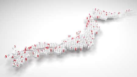 Map of Japan - Asia | 3d render: mosaic of little bricks - Flag colors