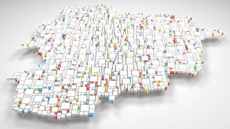Map of Andorra - Europe | 3d render: mosaic of little bricks - Flag colors