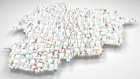 Map of Andorra - Europe | 3d render: mosaic of little bricks - Flag colors Reklamní fotografie - 92094407