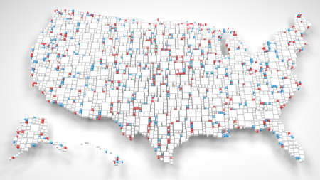 United States of America | 3D Fall down of little bricks - White and Flag Colors Reklamní fotografie - 92508718