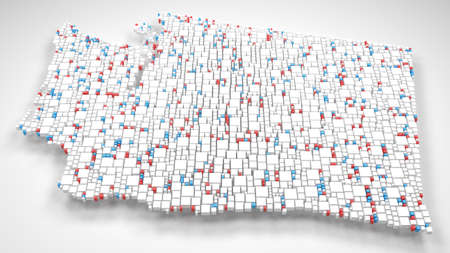 Map of Washington - USA | 3d fall down of little bricks - White and Flag colors