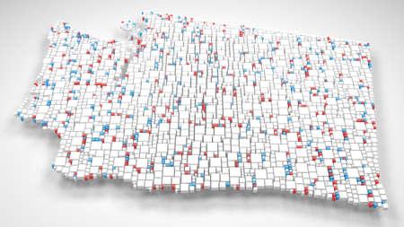 Map of Washington - USA | 3d fall down of little bricks - White and Flag colors Reklamní fotografie - 92508719