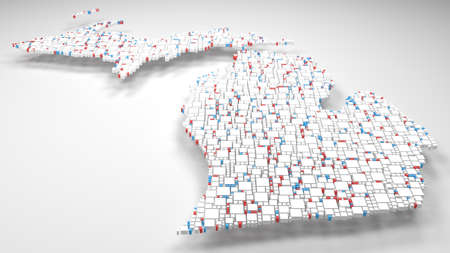 Map of Michigan - USA | 3d fall down of little bricks - White and Flag colors Reklamní fotografie - 92741784