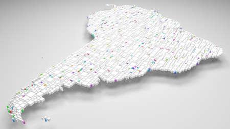 Map of Latin America   3d rendering, mosaic of little bricks - White and harlequin colors Reklamní fotografie - 92593729