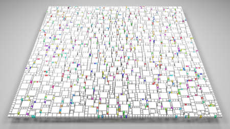 White mosaic of a square | 3d Rendering, mosaic of little bricks