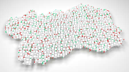 Map of Aosta Valley - Italy | 3d Rendering, mosaic of little bricks - White and Flag colors Reklamní fotografie