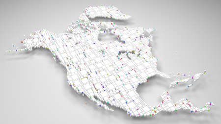 Map of North America | 3d Rendering, mosaic of little bricks - White and harlequin colors