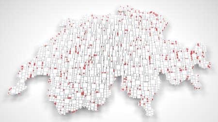 Map of Switzerland - Europe | 3d rendering, mosaic of little bricks - White and Flag colors Reklamní fotografie - 94447931