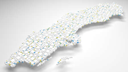 Decorative map of Sweden - Europe | 3d rendering, fall down of little bricks - White and Flag colors Reklamní fotografie - 94844597