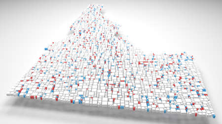 3D Map of Idaho - USA | 3d Rendering, mosaic of little bricks - White and flag colors Фото со стока