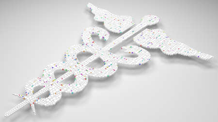 3D Mosaic of a Medical symbol | caduceus snakes - White and hartlequin colors