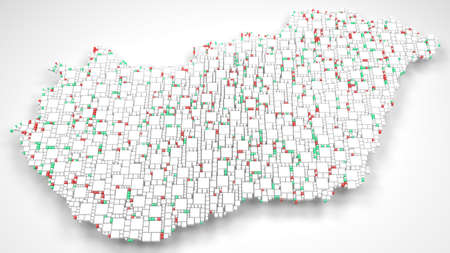 3D Map of Hungary - Europe | 3d Rendering, mosaic of little bricks - White and flag colors Фото со стока