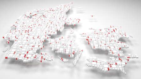3D Map of Denmark - Europe | 3d Rendering, mosaic of little bricks - White and flag colors Reklamní fotografie - 97946110