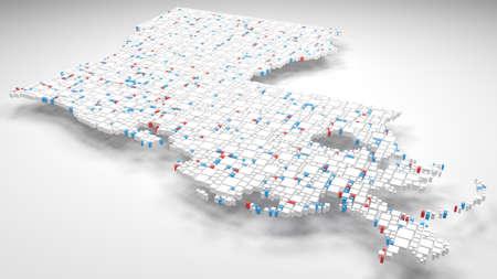 3D Map of Louisiana - USA Reklamní fotografie
