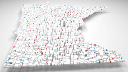 3D Map of Minnesota - USA | 3d Rendering, mosaic of little bricks - White and flag colors. A number of 4428 little boxes are accurately inserted into the mosaic