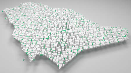 3D Map of Kingdom of Saudi Arabia | 3d Rendering, mosaic of little bricks - White and flag colors. A number of 4154 little boxes are accurately inserted into the mosaic