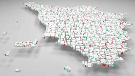 Map of Tuscany - Italy | 3d Rendering, mosaic of little bricks - White and flag colors. A number of 4549 little boxes are accurately inserted into the mosaic Фото со стока