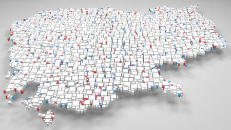 Map of Cambodia - Asia   3d Rendering, mosaic of little bricks - White and flag colors. A number of 3437 little boxes are accurately inserted into the mosaic Reklamní fotografie - 104725067