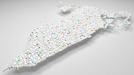 3D White Map of Bahrain - Middle East | 3d Rendering, mosaic of little bricks - White and harlequin colors. A number of 4032 little boxes are accurately inserted into the mosaic Фото со стока
