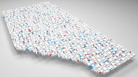 3D Map of Alberta - Canada | 3d Rendering, mosaic of little bricks - White and flag colors. A number of 3781 little boxes are accurately inserted into the mosaic