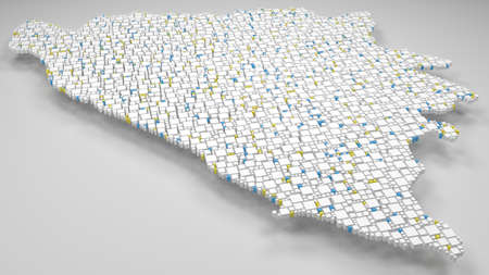 3D Map of Bosnia Herzegovina - Europe | 3d Rendering, mosaic of little bricks - White and flag colors. A number of 4355 little boxes are accurately inserted into the mosaic Reklamní fotografie - 106897322