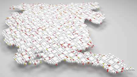 3D Map of Montenegro - Europe | 3d Rendering, mosaic of little bricks - White and flag colors. A number of 4214 little boxes are accurately inserted into the mosaic