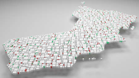 3D Map of Sultanate of Oman - Middle East | 3d Rendering, mosaic of little bricks - White and flag colors. A number of 4042 little boxes are accurately inserted into the mosaic