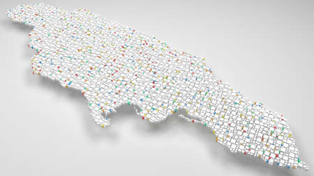 3D Map of Jamaica - America | 3d Rendering, mosaic of little bricks - White and flag colors. A number of 4681 little boxes are accurately inserted into the mosaic