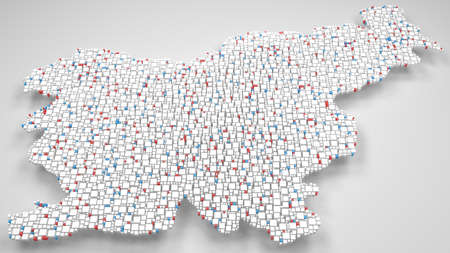 3D Map of Slovenia - Europe   3d Rendering, mosaic of little bricks - White and flag colors. A number of 4938 little boxes are accurately inserted into the mosaic